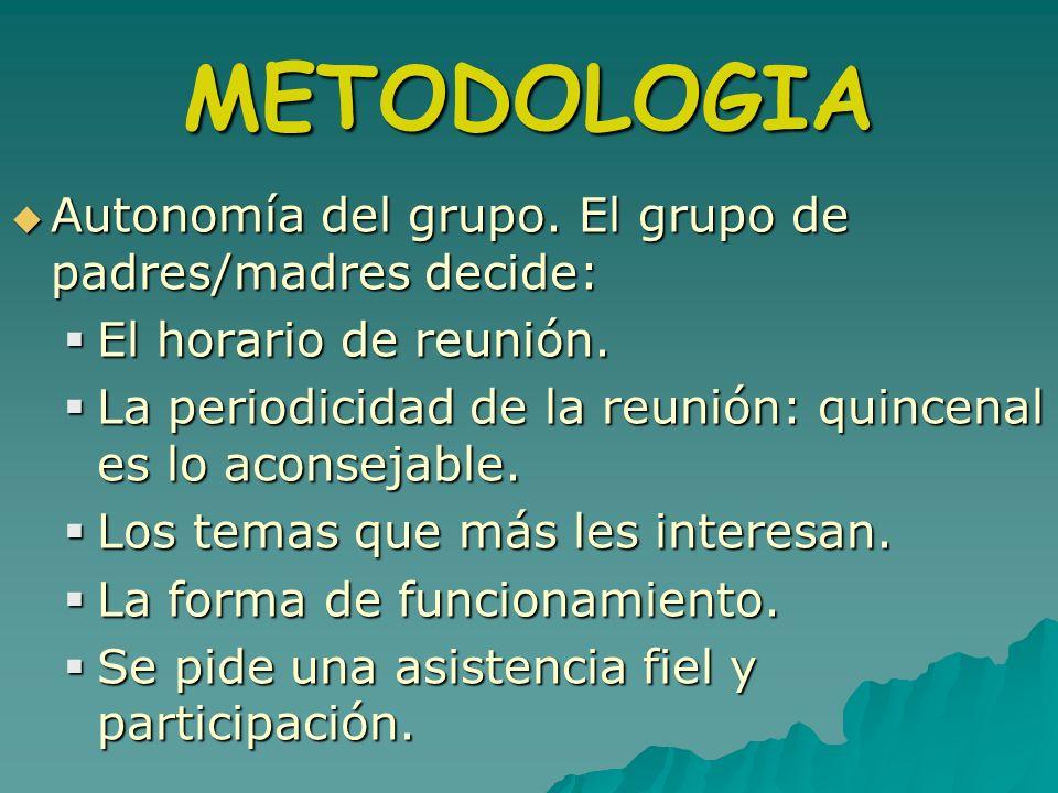 METODOLOGIA Autonomía del grupo. El grupo de padres/madres decide: