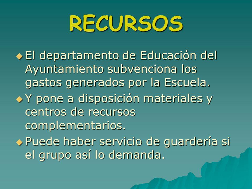 RECURSOSEl departamento de Educación del Ayuntamiento subvenciona los gastos generados por la Escuela.