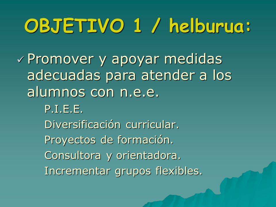 OBJETIVO 1 / helburua: Promover y apoyar medidas adecuadas para atender a los alumnos con n.e.e. P.I.E.E.