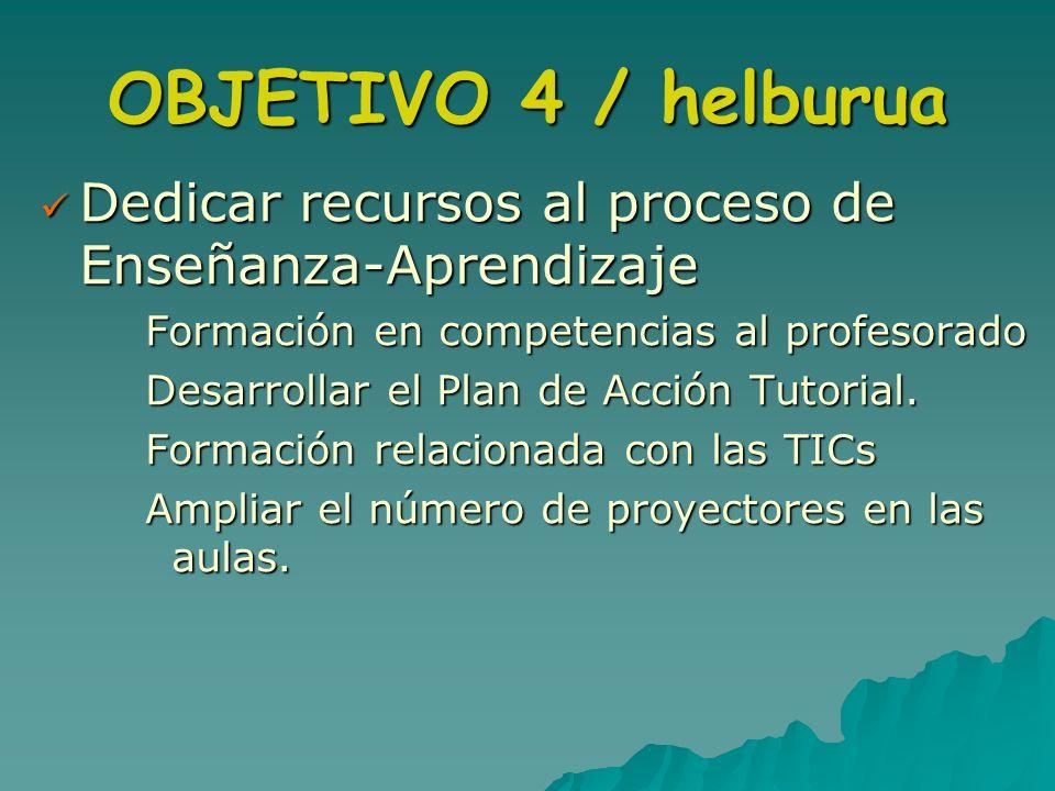 OBJETIVO 4 / helburua Dedicar recursos al proceso de Enseñanza-Aprendizaje. Formación en competencias al profesorado.