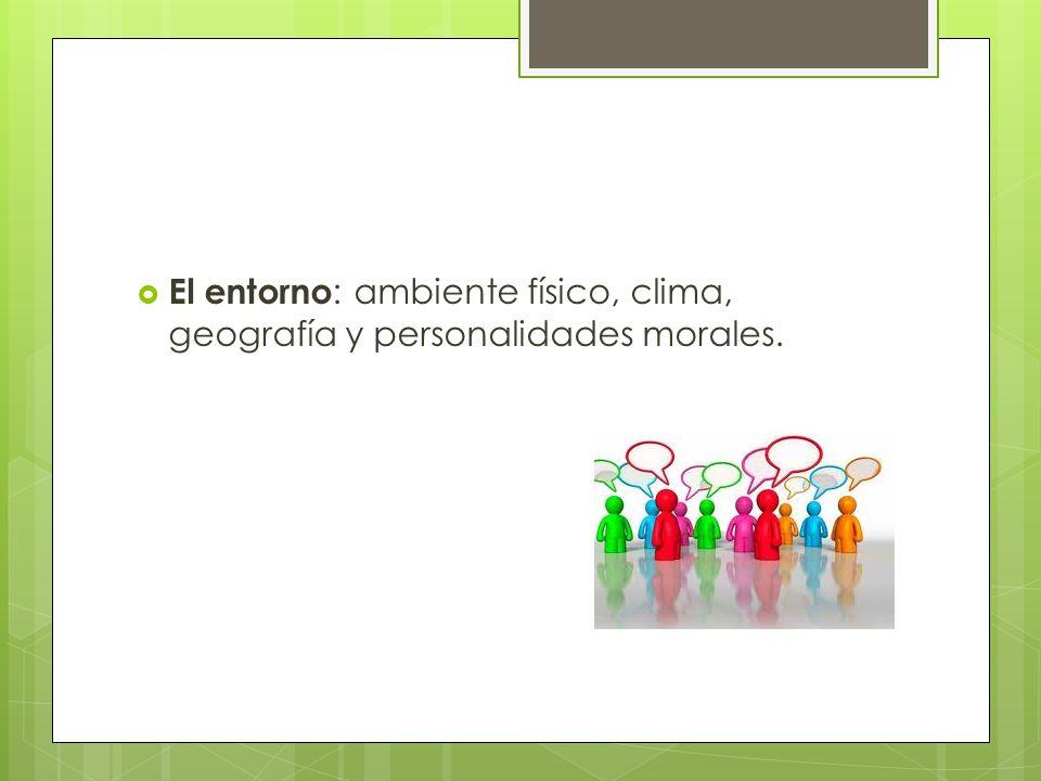 El entorno: ambiente físico, clima, geografía y personalidades morales.