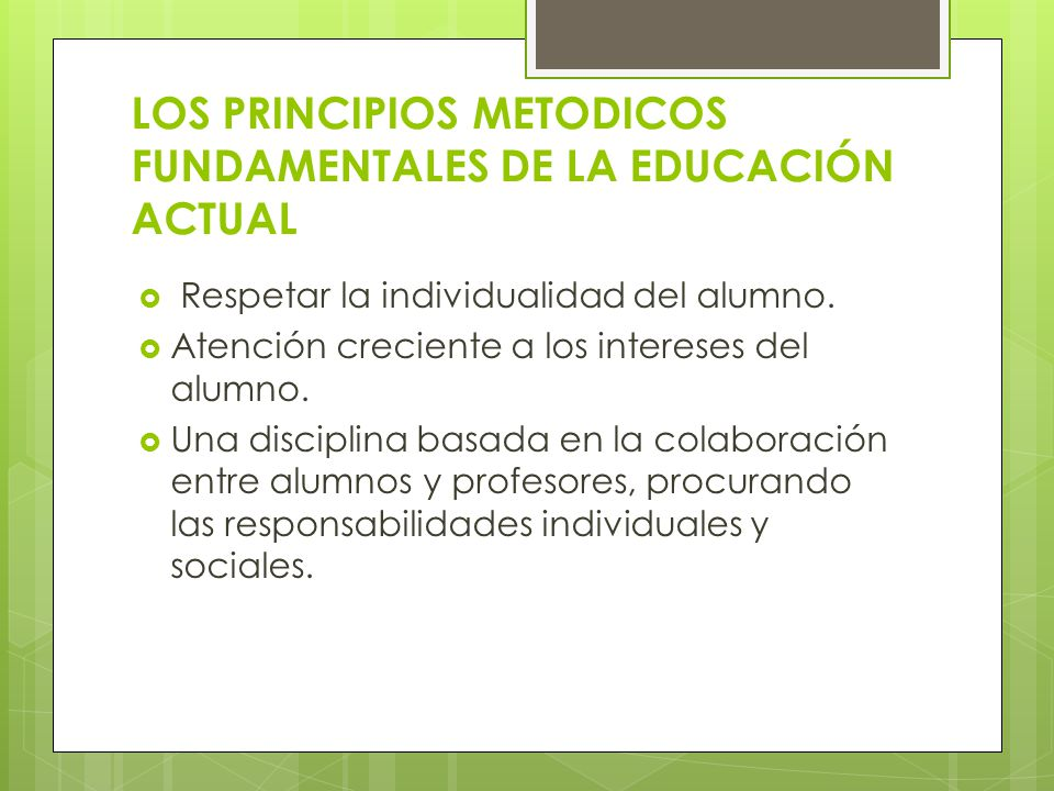 LOS PRINCIPIOS METODICOS FUNDAMENTALES DE LA EDUCACIÓN ACTUAL