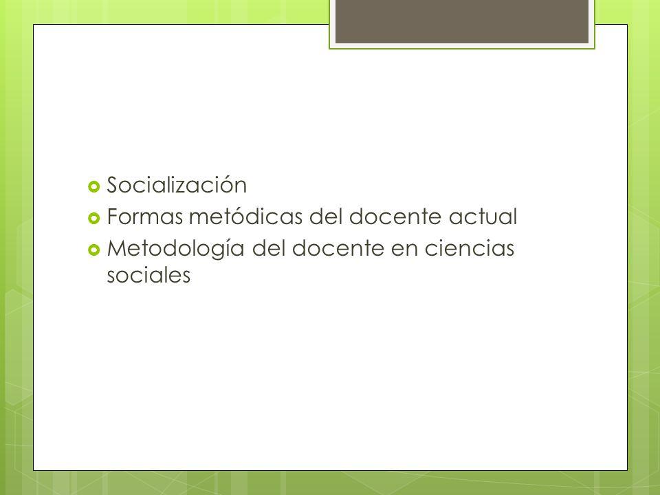 Socialización Formas metódicas del docente actual Metodología del docente en ciencias sociales