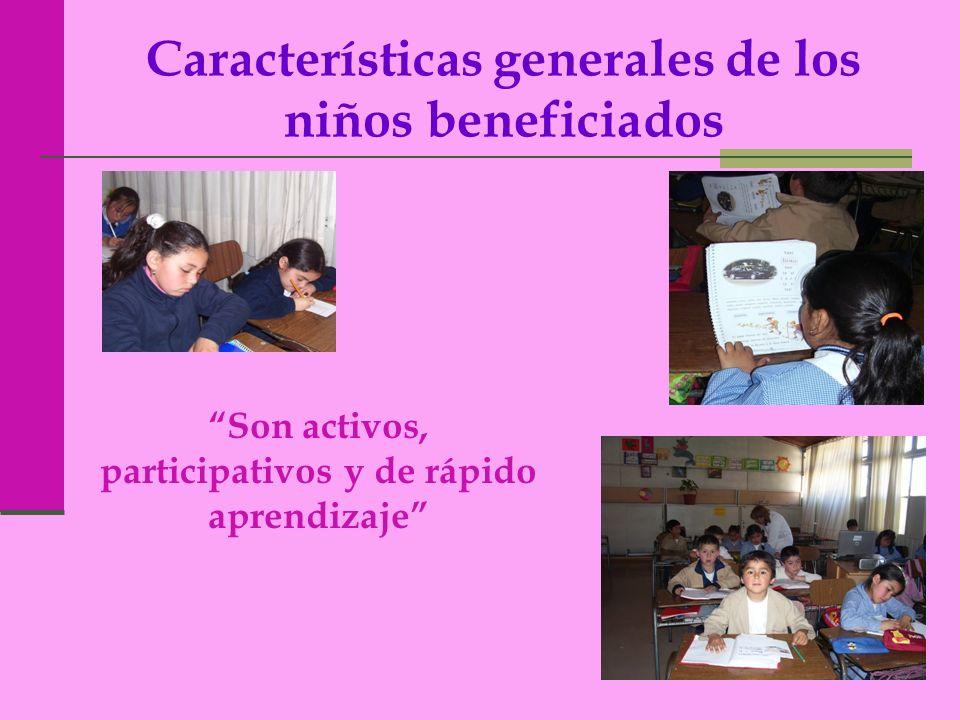 Características generales de los niños beneficiados