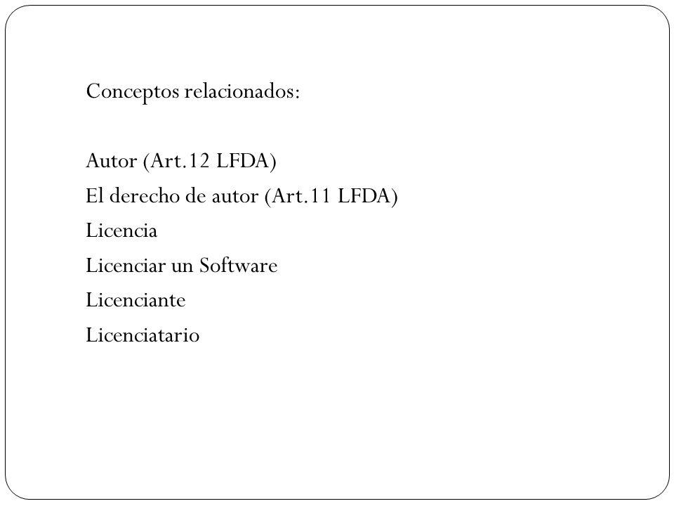 Conceptos relacionados: Autor (Art. 12 LFDA) El derecho de autor (Art