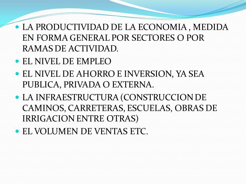 LA PRODUCTIVIDAD DE LA ECONOMIA , MEDIDA EN FORMA GENERAL POR SECTORES O POR RAMAS DE ACTIVIDAD.