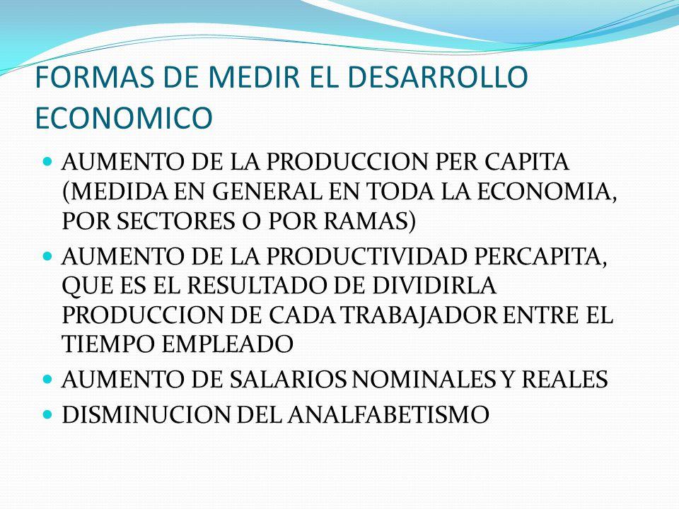 FORMAS DE MEDIR EL DESARROLLO ECONOMICO