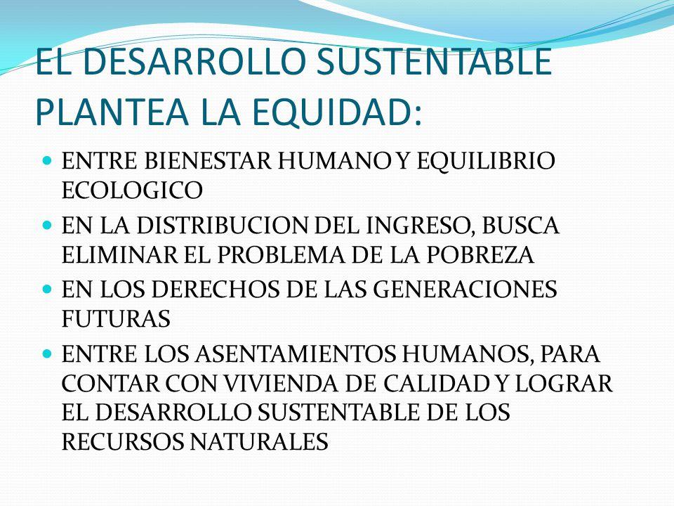 EL DESARROLLO SUSTENTABLE PLANTEA LA EQUIDAD:
