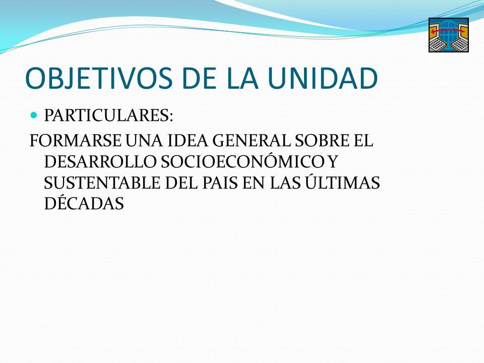 OBJETIVOS DE LA UNIDAD PARTICULARES: