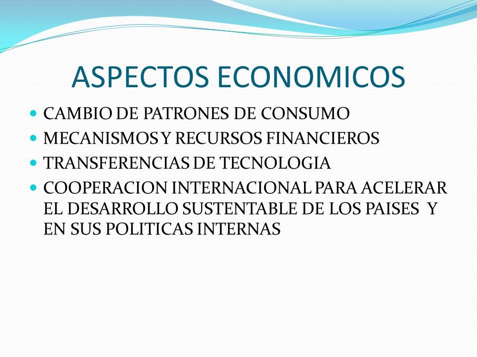 ASPECTOS ECONOMICOS CAMBIO DE PATRONES DE CONSUMO