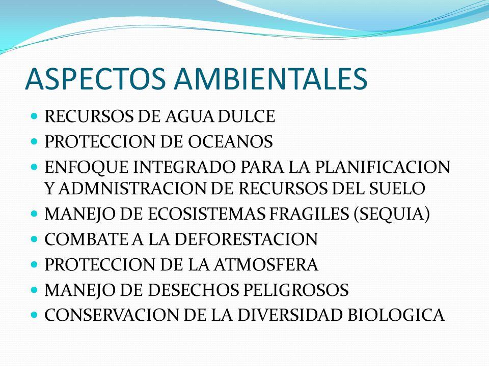 ASPECTOS AMBIENTALES RECURSOS DE AGUA DULCE PROTECCION DE OCEANOS