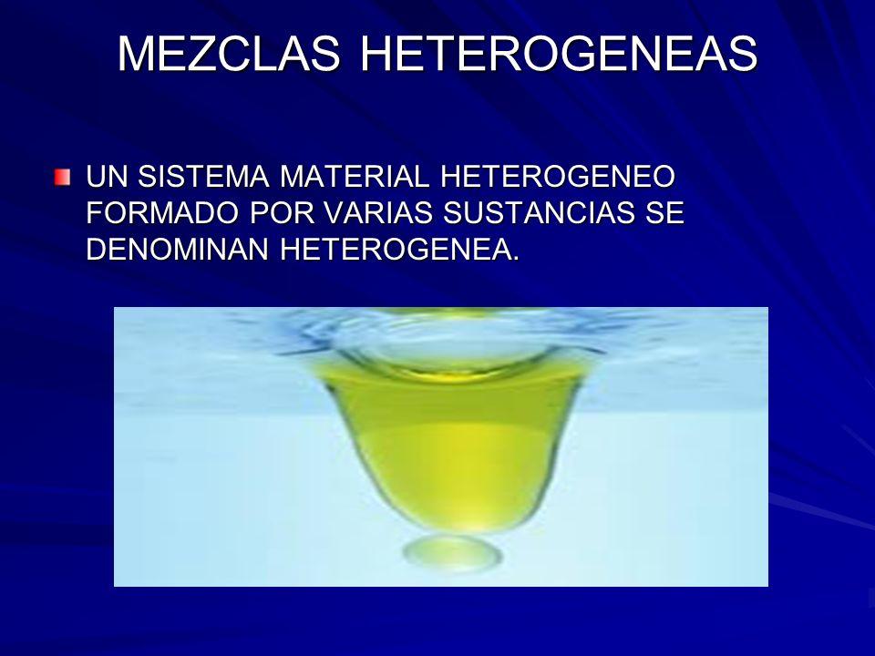 MEZCLAS HETEROGENEAS UN SISTEMA MATERIAL HETEROGENEO FORMADO POR VARIAS SUSTANCIAS SE DENOMINAN HETEROGENEA.