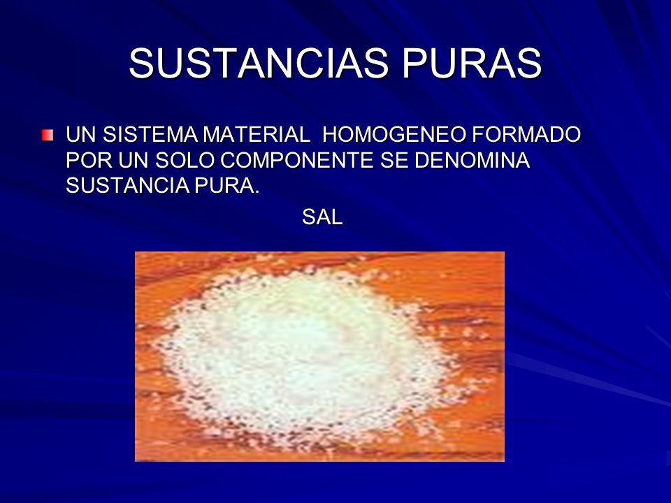 SUSTANCIAS PURAS UN SISTEMA MATERIAL HOMOGENEO FORMADO POR UN SOLO COMPONENTE SE DENOMINA SUSTANCIA PURA.