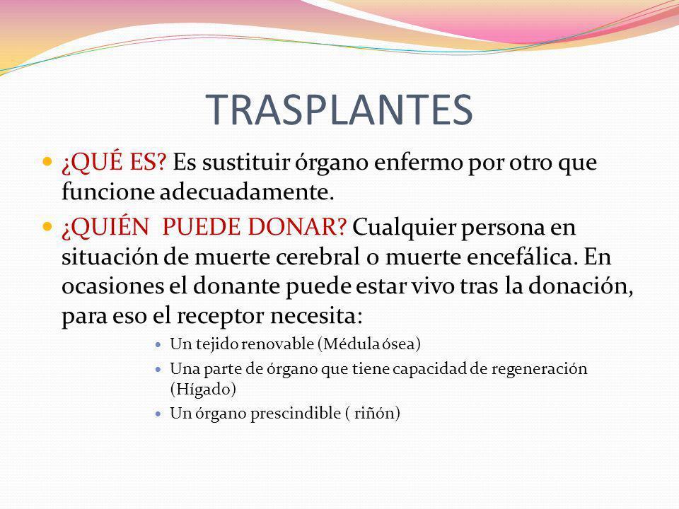 TRASPLANTES ¿QUÉ ES Es sustituir órgano enfermo por otro que funcione adecuadamente.