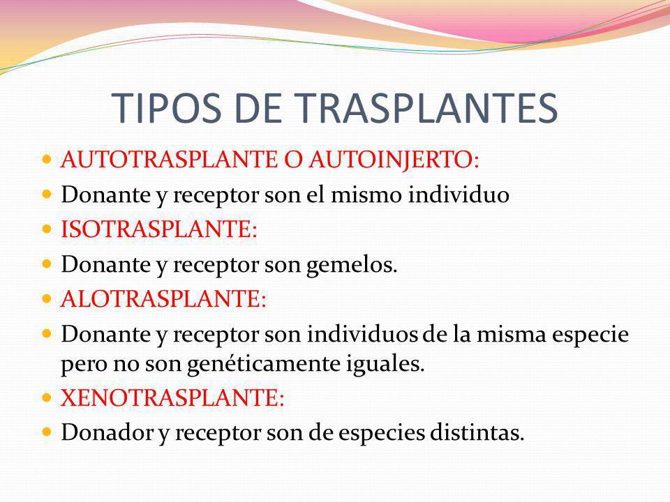 TIPOS DE TRASPLANTES AUTOTRASPLANTE O AUTOINJERTO: