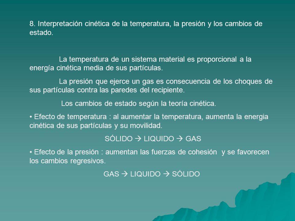 8. Interpretación cinética de la temperatura, la presión y los cambios de estado.