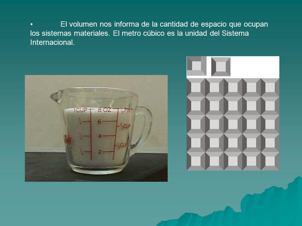 El volumen nos informa de la cantidad de espacio que ocupan los sistemas materiales.