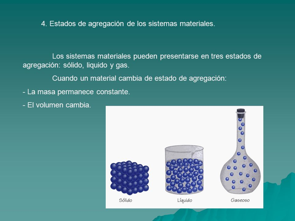 4. Estados de agregación de los sistemas materiales.
