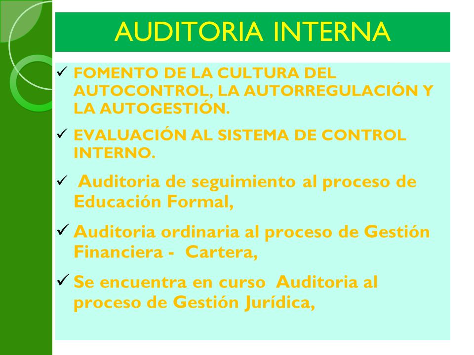 AUDITORIA INTERNA 4 Auditorias Formales.