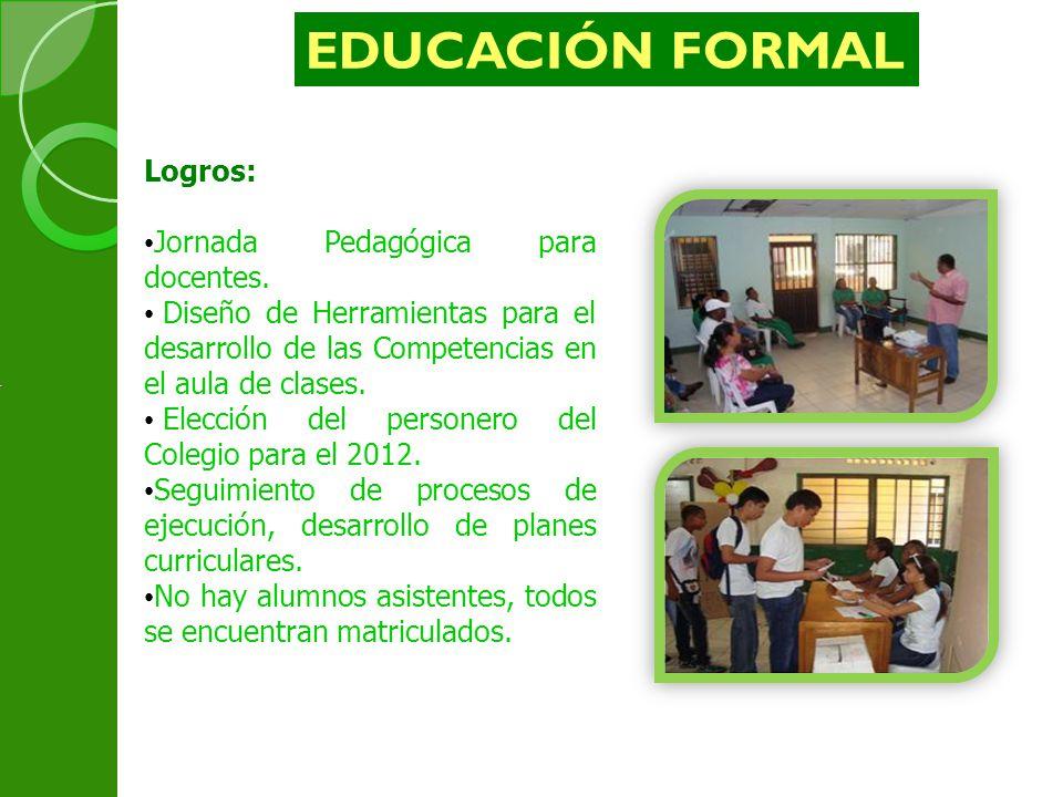 EDUCACIÓN FORMAL Logros: Jornada Pedagógica para docentes.