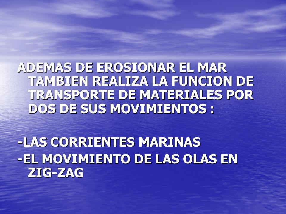 ADEMAS DE EROSIONAR EL MAR TAMBIEN REALIZA LA FUNCION DE TRANSPORTE DE MATERIALES POR DOS DE SUS MOVIMIENTOS :