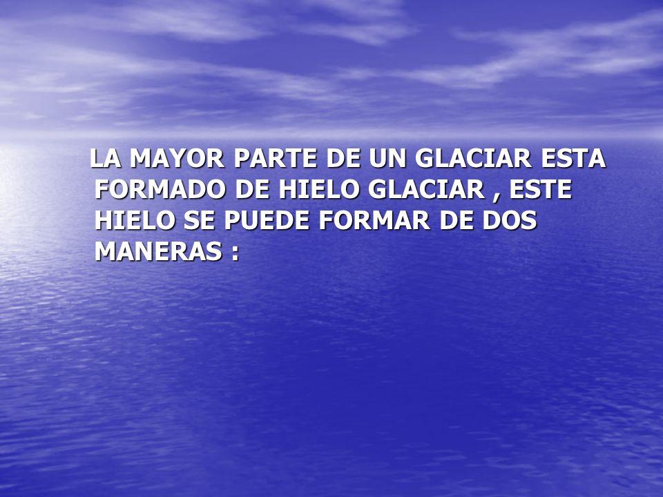 LA MAYOR PARTE DE UN GLACIAR ESTA FORMADO DE HIELO GLACIAR , ESTE HIELO SE PUEDE FORMAR DE DOS MANERAS :