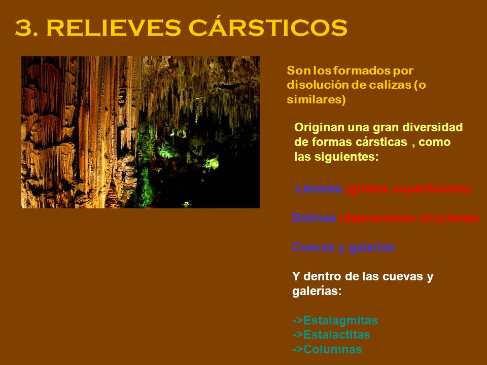 3. RELIEVES CÁRSTICOS Son los formados por disolución de calizas (o similares)