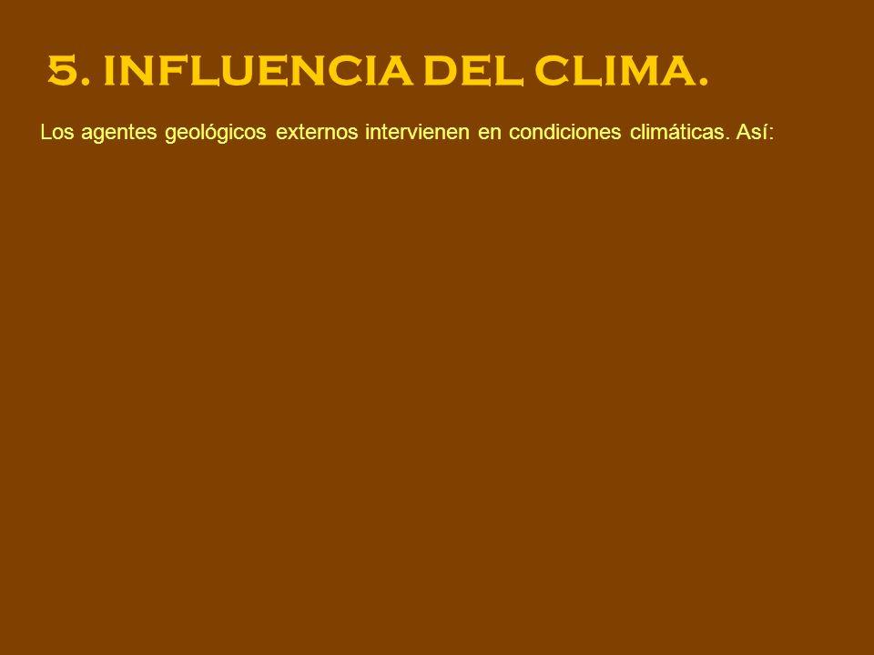 5. INFLUENCIA DEL CLIMA. Los agentes geológicos externos intervienen en condiciones climáticas.