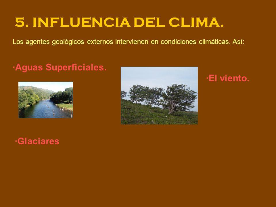 5. INFLUENCIA DEL CLIMA. ·Aguas Superficiales. ·El viento. ·Glaciares