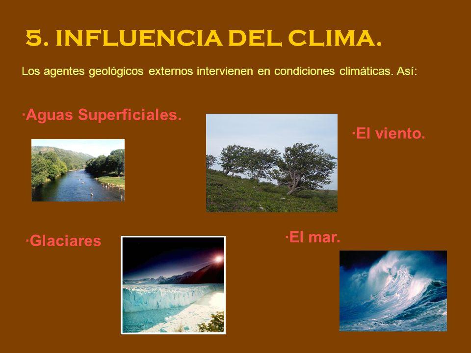 5. INFLUENCIA DEL CLIMA. ·Aguas Superficiales. ·El viento. ·El mar.