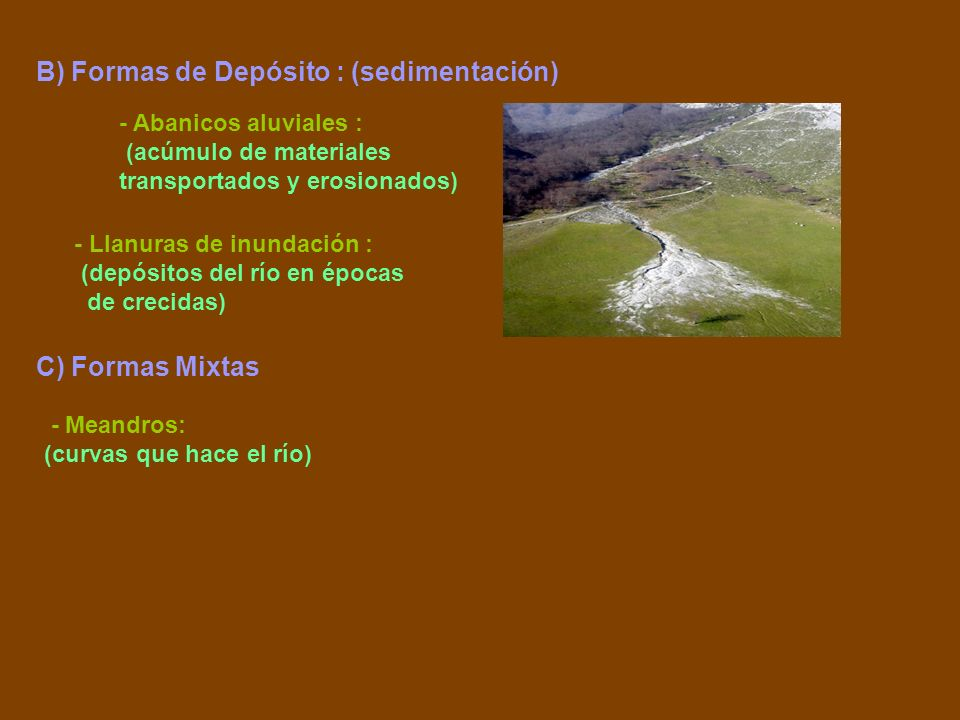 B) Formas de Depósito : (sedimentación)