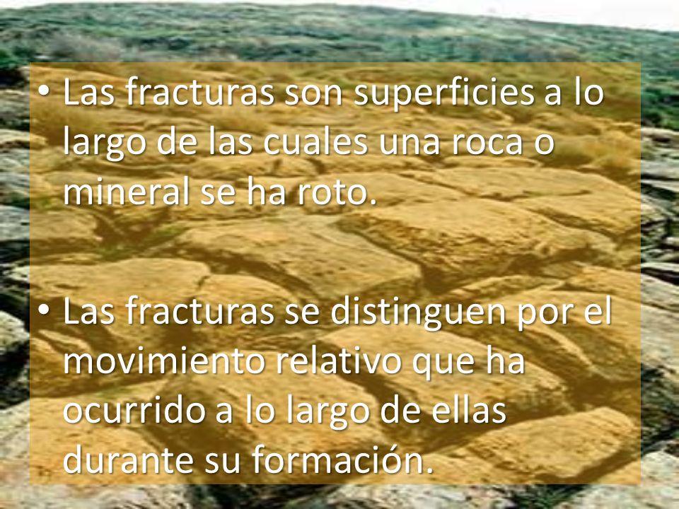 Las fracturas son superficies a lo largo de las cuales una roca o mineral se ha roto.