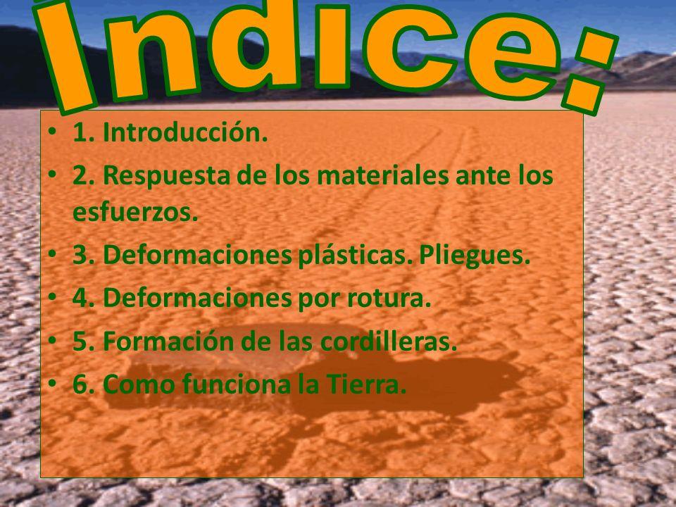 Índice:1. Introducción. 2. Respuesta de los materiales ante los esfuerzos. 3. Deformaciones plásticas. Pliegues.
