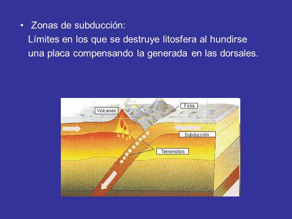 Zonas de subducción: Límites en los que se destruye litosfera al hundirse.