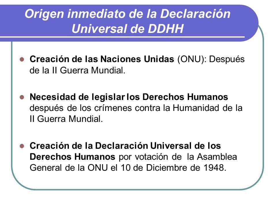 Origen inmediato de la Declaración Universal de DDHH
