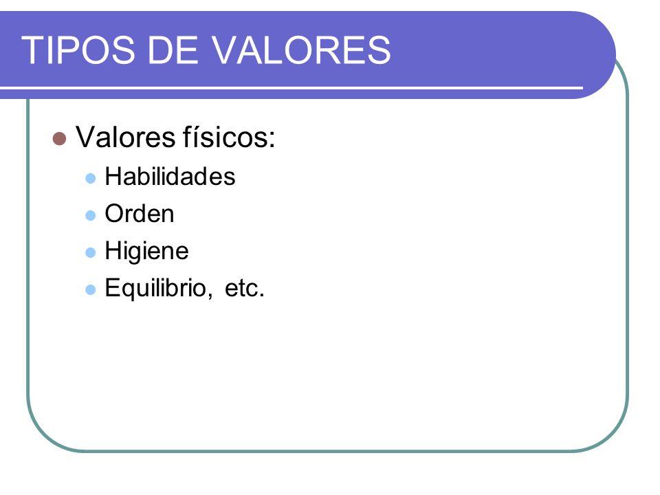 TIPOS DE VALORES Valores físicos: Habilidades Orden Higiene