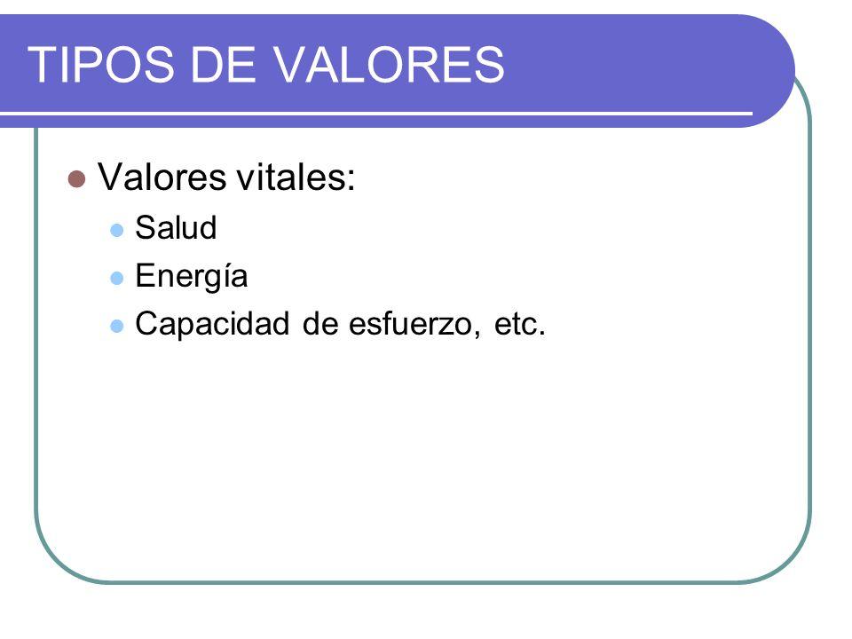 TIPOS DE VALORES Valores vitales: Salud Energía