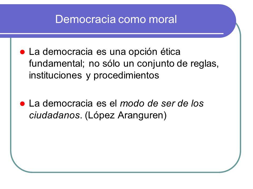 Democracia como moralLa democracia es una opción ética fundamental; no sólo un conjunto de reglas, instituciones y procedimientos.