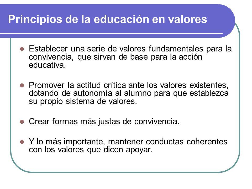 Principios de la educación en valores