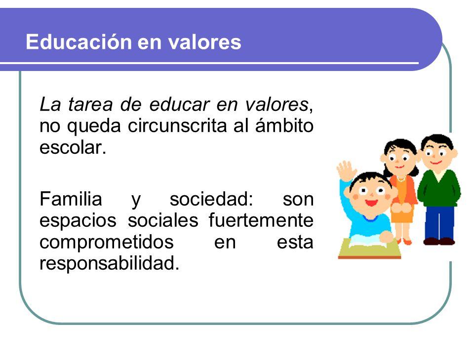 Educación en valores La tarea de educar en valores, no queda circunscrita al ámbito escolar.