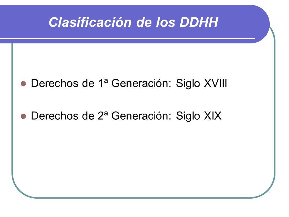 Clasificación de los DDHH