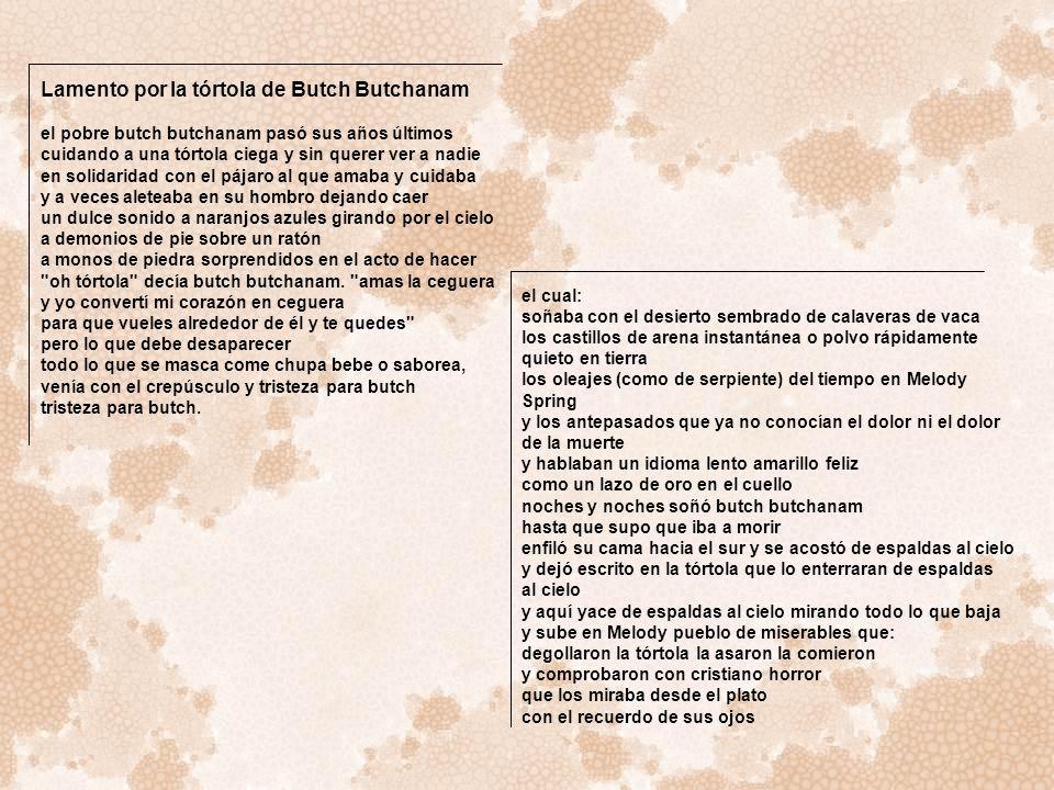 Lamento por la tórtola de Butch Butchanam