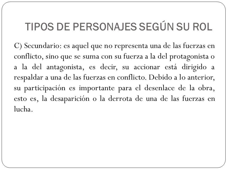 TIPOS DE PERSONAJES SEGÚN SU ROL