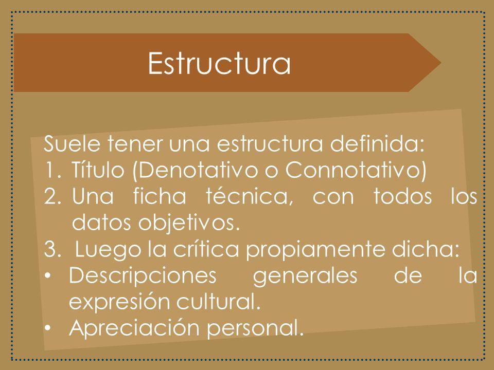 Estructura Suele tener una estructura definida:
