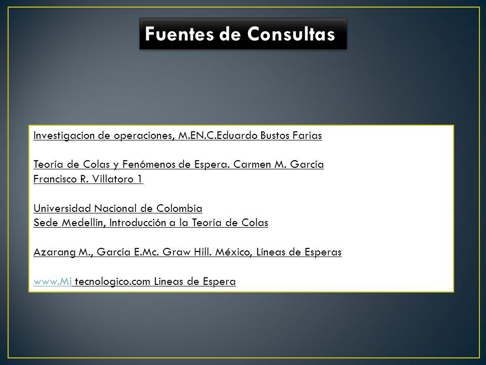 Fuentes de Consultas Investigacion de operaciones, M.EN.C.Eduardo Bustos Farias. Teoría de Colas y Fenómenos de Espera. Carmen M. García.
