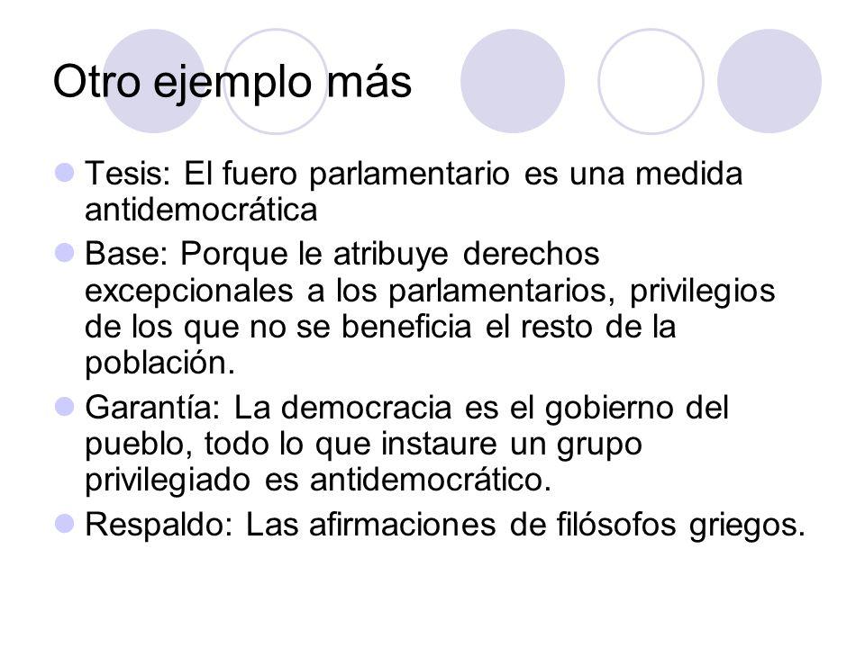 Otro ejemplo más Tesis: El fuero parlamentario es una medida antidemocrática.