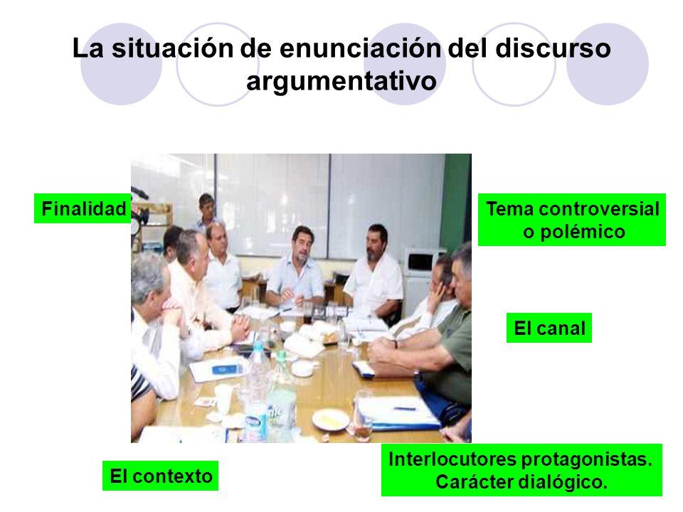 La situación de enunciación del discurso argumentativo