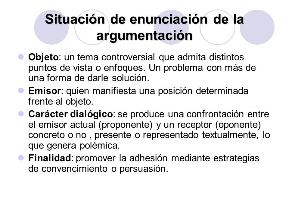 Situación de enunciación de la argumentación