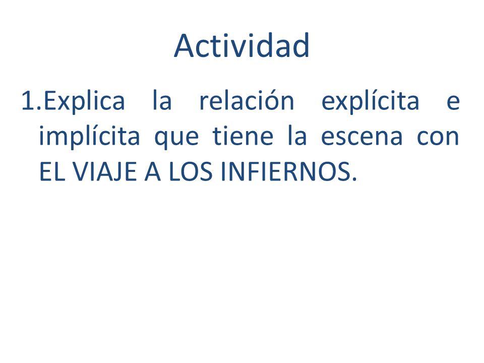Actividad Explica la relación explícita e implícita que tiene la escena con EL VIAJE A LOS INFIERNOS.