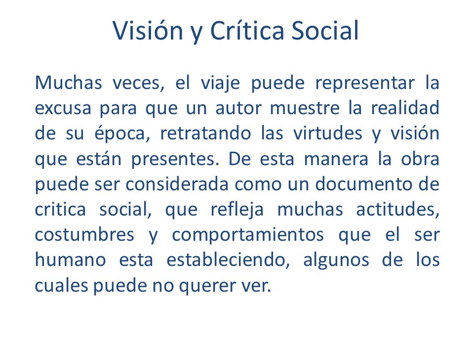 Visión y Crítica Social